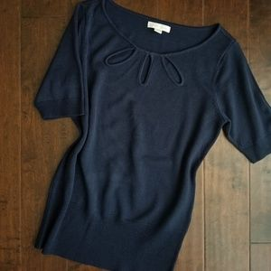 New York & Co Navy blue blouse with keyhole design
